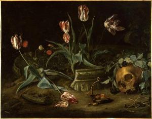 Rachel Ruysch, Vanité. Tulipes et crâne. Musée Jeanne d'Aboville, Saint-Quentin
